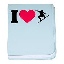 I love Snowboarding baby blanket