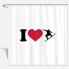 I love Snowboarding Shower Curtain