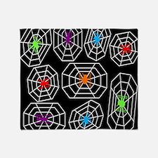 Neon Spiders Throw Blanket