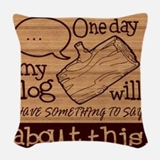 Log Lady Woven Throw Pillow