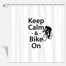 Keep Calm and Bike On Shower Curtain