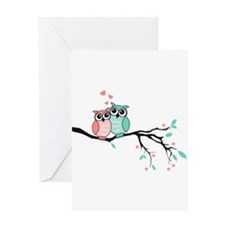 Cute owls in love Greeting Cards