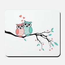Cute owls in love Mousepad