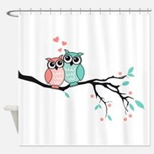 Cute owls in love Shower Curtain