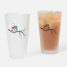 Cute owls in love Drinking Glass