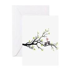 Cute owls on tree Greeting Cards