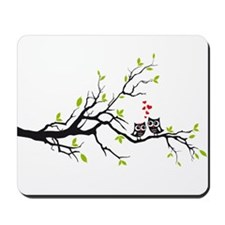 Cute owls on tree Mousepad