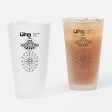 UFO Blueprint Drinking Glass