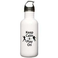 Keep Calm and Play On (Football) Water Bottle