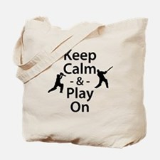Keep Calm and Play On (Cricket) Tote Bag