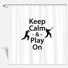 Keep Calm and Play On (Cricket) Shower Curtain