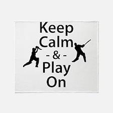 Keep Calm and Play On (Cricket) Throw Blanket