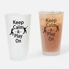 Keep Calm and Play On (Cricket) Drinking Glass