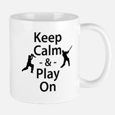 Keep Calm and Play On (Cricket) Mugs