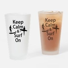 Keep Calm and Surf On Drinking Glass