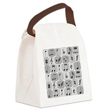 Cool trendy musical notes pattern Canvas Lunch Bag