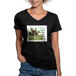 OUR FIRST TEACHER Women's V-Neck Dark T-Shirt