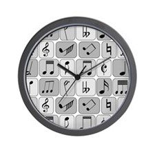 Cool trendy musical notes pattern Wall Clock