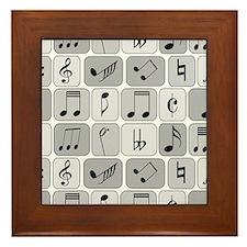 Cool trendy musical notes pattern Framed Tile