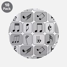 "Cool trendy musical notes pa 3.5"" Button (10 pack)"