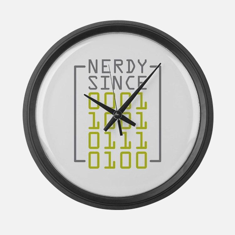 Nerdy Since 1974 Large Wall Clock