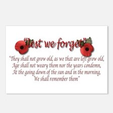 lest we forget Postcards (Package of 8)