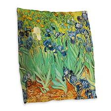 Van Gogh Irises Burlap Throw Pillow