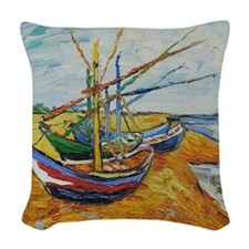 Van Gogh Boats at St Marie Woven Throw Pillow