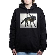 Black Wolf Women's Hooded Sweatshirt