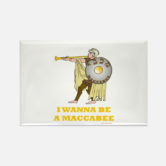 Wanna Be A Maccabee Hanukkah Rectangle Magnet