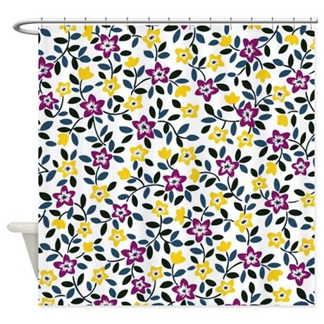 Purple And Yellow Floral Shower Curtain By Admin CP59133934