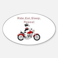 Biker Dog- Sticker (oval)