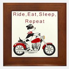 Biker Dog- Framed Tile