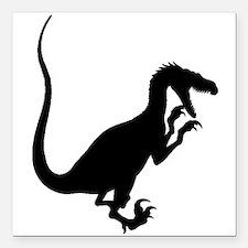 """Velociraptor Silhouette Square Car Magnet 3"""" x 3"""""""