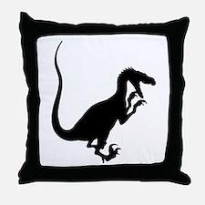 Velociraptor Silhouette Throw Pillow