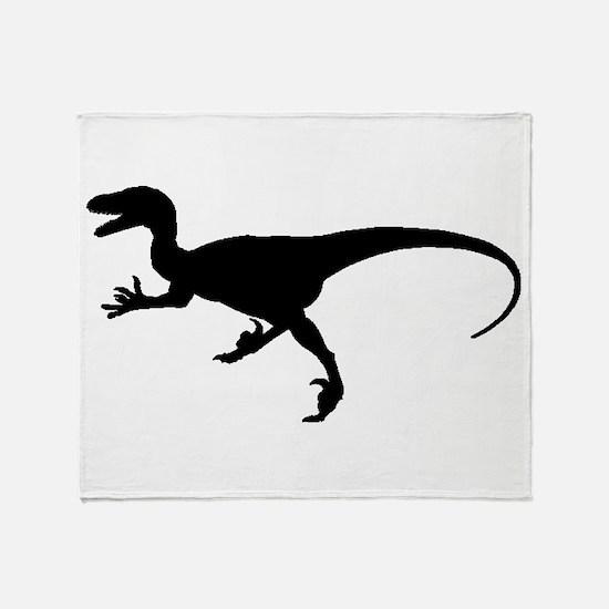 Velociraptor Silhouette Throw Blanket