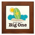 Ready For The Big One Beach Surf Framed Tile