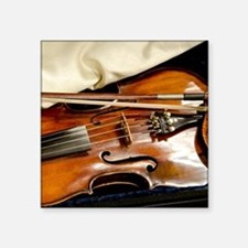 "Vintage Violin Square Sticker 3"" x 3"""