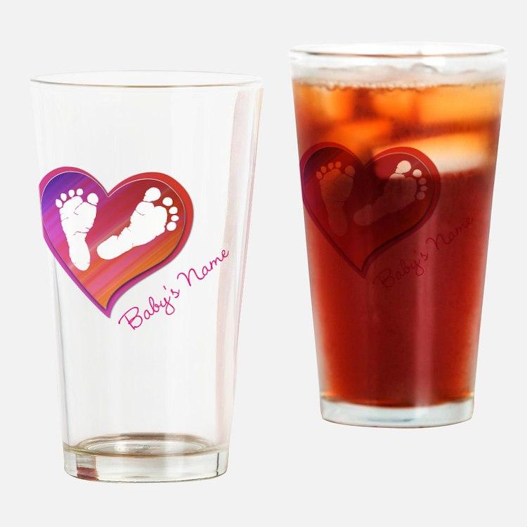 Heart & Baby Footprints Drinking Glass