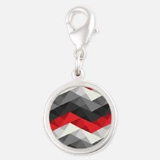 Abstract Chevron Silver Round Charm