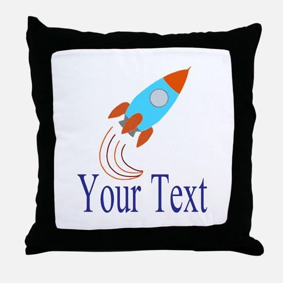 Rocket Ship Personalizable Throw Pillow