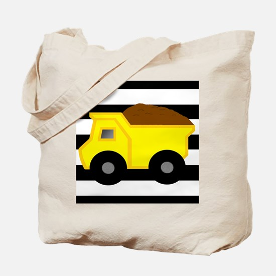 Dump Truck Black and White Tote Bag