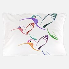 Patchwork Trio of Hummingbirds Pillow Case