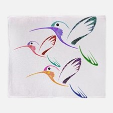 Patchwork Trio of Hummingbirds Throw Blanket