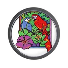 Parrot and Macaw in the Jungle Wall Clock