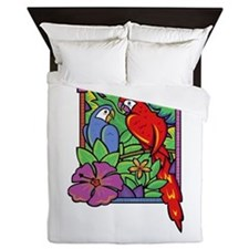Parrot and Macaw in the Jungle Queen Duvet