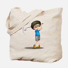 A young boy playing golf Tote Bag