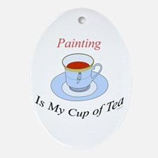 Painting is my cup of tea Oval Ornament