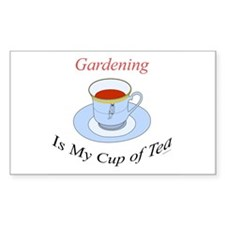 Gardening is my cup of tea Rectangle Decal