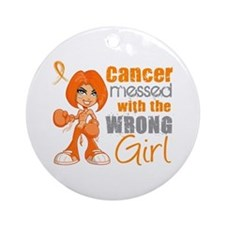 Leukemia Messed With Wrong Girl Ornament (Round)